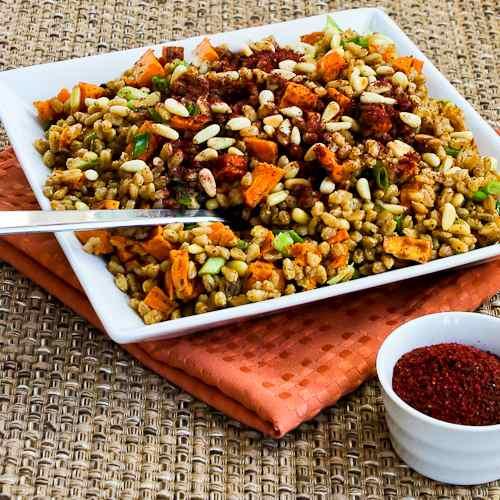 Vegan Farro and Sweet Potato Salad with Tahini-Sumac Vinaigrette
