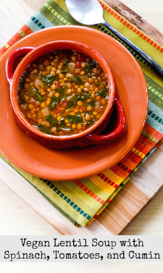 Vegan Lentil Soup with Spinach, Tomatoes, and Cumin