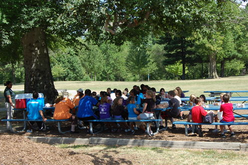 Kids enjoying their meals at Christian Park.