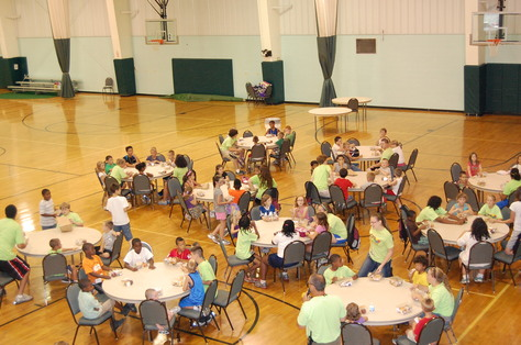 Feeding a lot of kids today! Some of our sites are located indoors and the kids can keep cool in this heat!