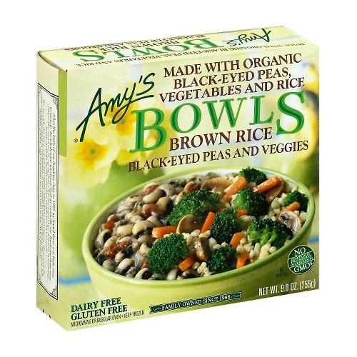 AMY'S BOWLS BROWN RICE BLACK EYED PEAS VEGGIES 9oz