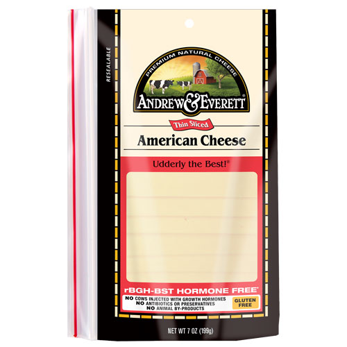 ANDREW & EVERETT SLICED AMERICAN CHEESE 7oz