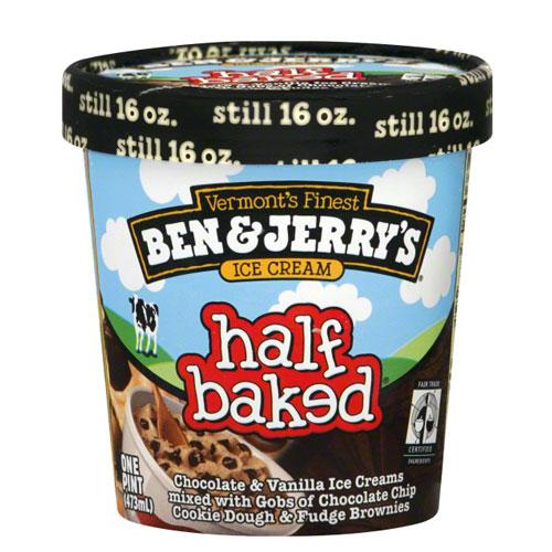 BEN JERRYS ICE CREAM HALF BAKED 1pt