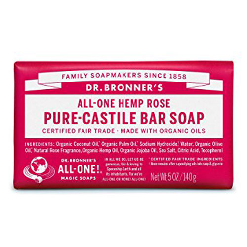 DR BRONNERS BAR SOAP ROSE 5oz