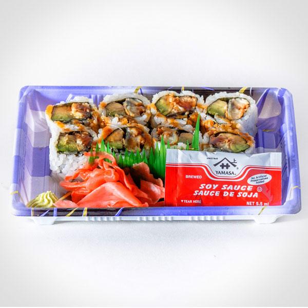 Eel Avocado Roll (Rice, Avocado, Eel, Cucumber, Seaweed, Vinegar, Sugar, Salt, Eel Sauce)
