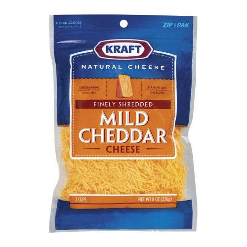 KRAFT SHREDDED MILD CHEDDAR CHEESE 8oz