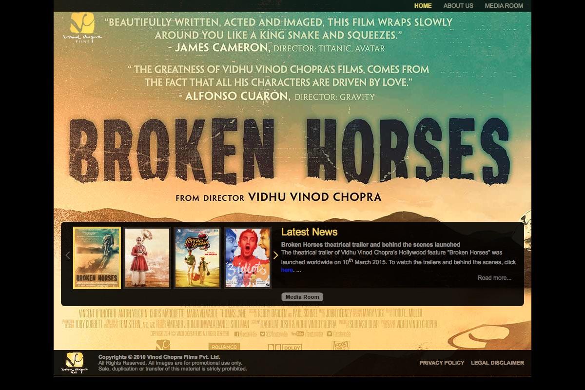 Website of Vinod Chopra Films Pvt. ltd.
