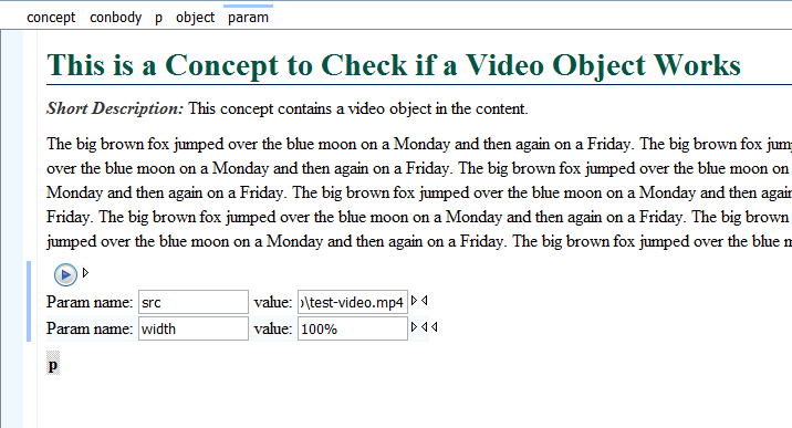 DITA Object for Inserting a Video Element in a Topic