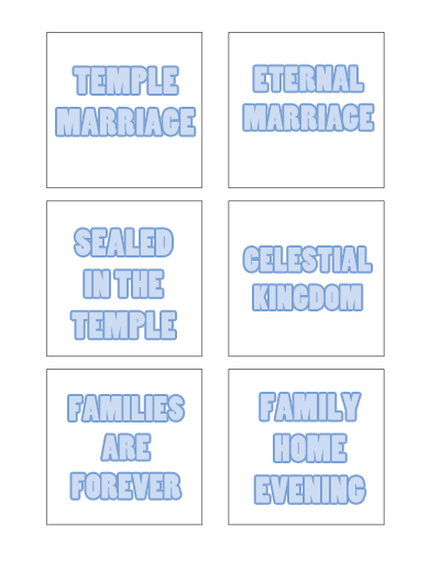 August Sunday School Lesson Activity Cards