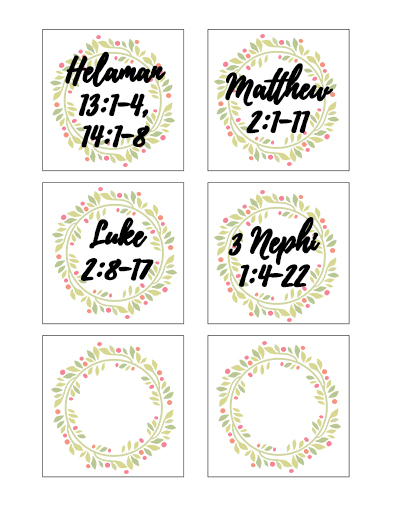 December Sunday School Scripture Cards