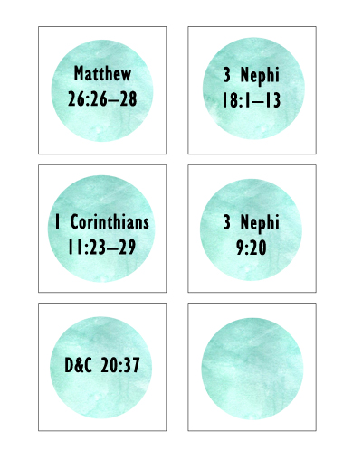 Sunday School Lesson July - Sacrament Scripture Cards