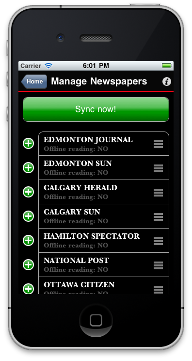 Sunflowerapps iPhone application - Reordering newspapers