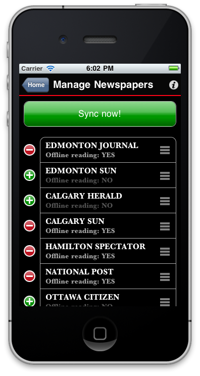 "Sunflowerapps iPhone application ""Sync Now"" all newspapers"