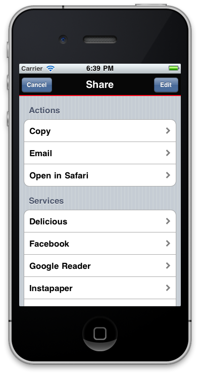 Sunflowerapps iPhone application - Sharing articles