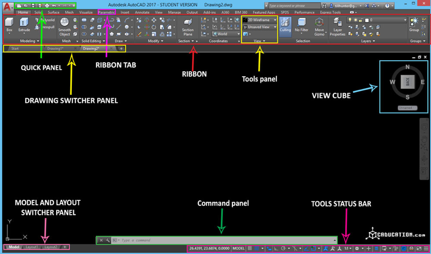 autocad cad software interface