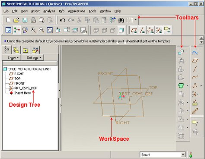 pro e cad software interface