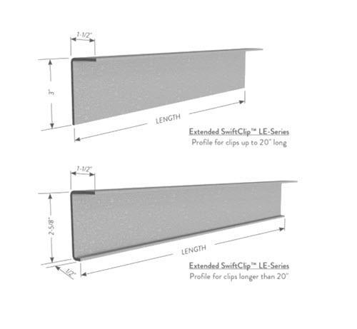 1 1/2 in x 3 in x 18 in 14 Gauge 68 mil Clark Dietrich Extended SwiftClip LE-Series Clip