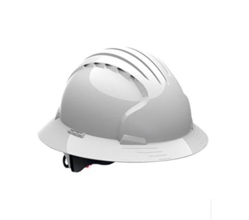 PIP Evolution Deluxe 6161 Full Brim Hard Hat w/ 6-Point Suspension and Wheel Ratchet Adjustment - White