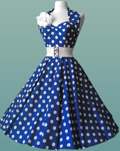 6ec0340fde66 Fabulous 50s Swing Blue   White Ploka Dot Dress. Mad Hatters Fancy Dress