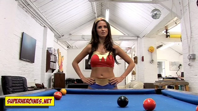 Funda Onal in a sexy two piece Wonder Woman costume
