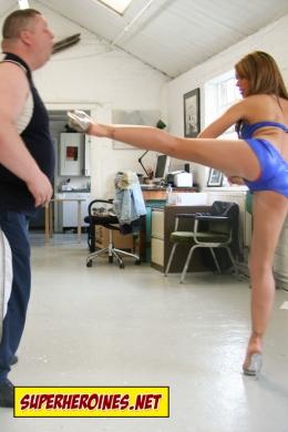 Mega Girl beating up a man
