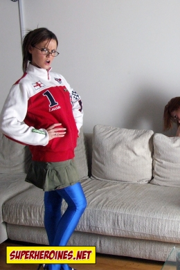 Superheroine in ordinary civilian clothing