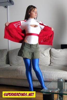 Superheroines Jasmine Sinclair ripping open her top to reveal hero costume