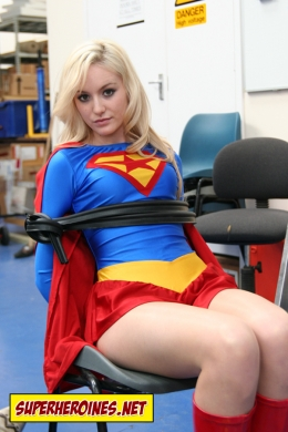 Faye Tasker tied up as Supergirl