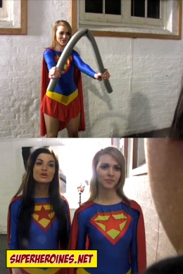 Supergirl Maddy bending a metal bar