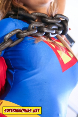 Superwoman tied up in chains