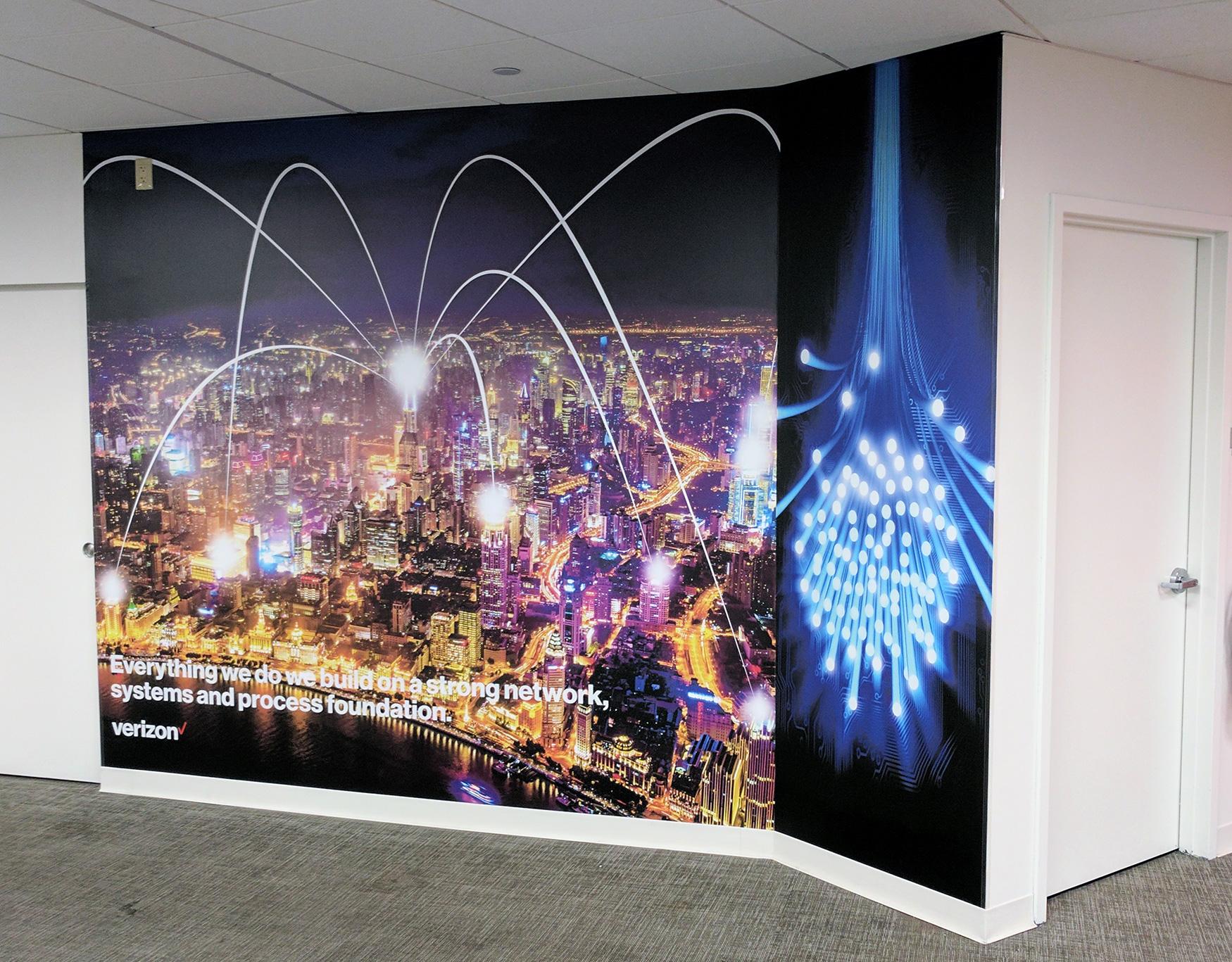 Fiber Optic City Mural | Verizon | Digital Printing | Boston, Medford