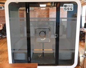 Sound Proof Pod with Frosted Vinyl on Windows - Glance
