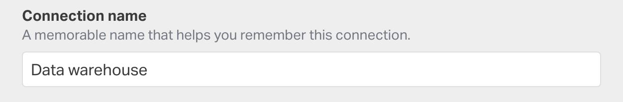 Enter your connection name