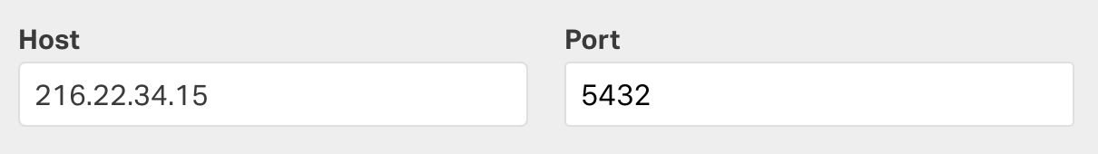 Enter your database host and port details