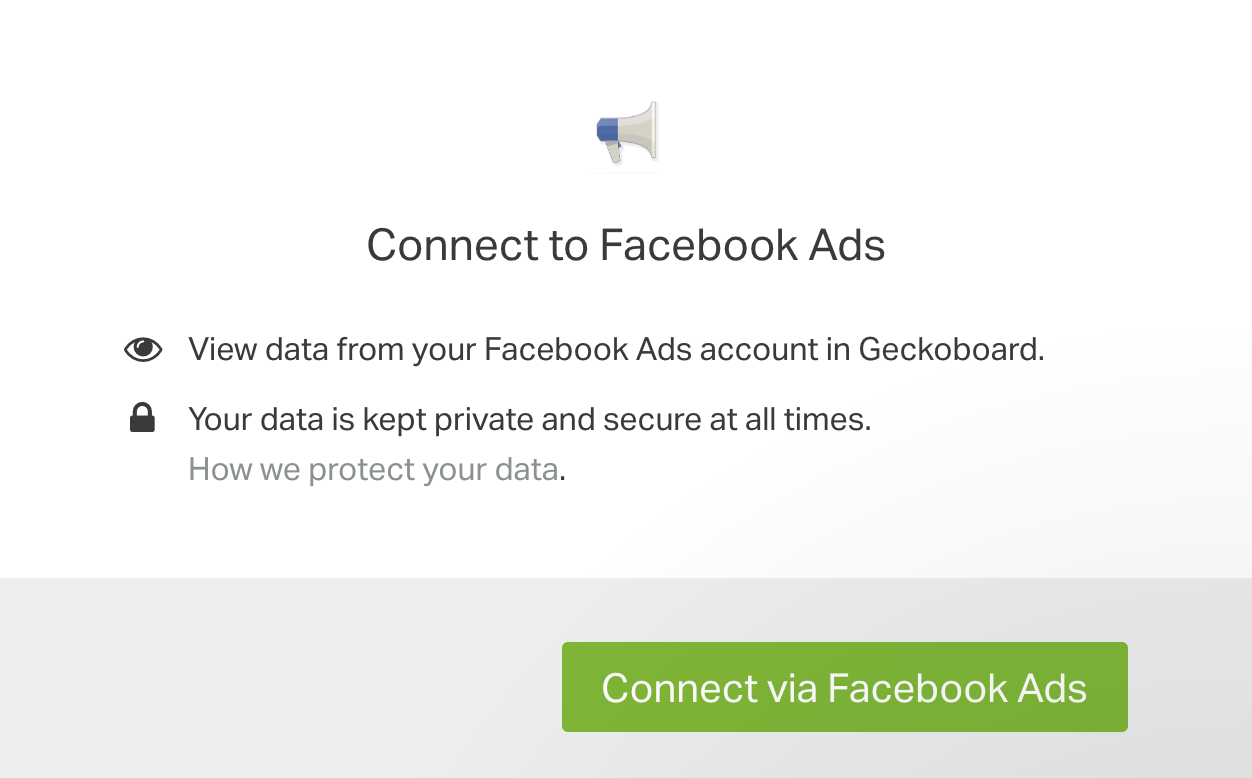 Facebook Ads authentication box