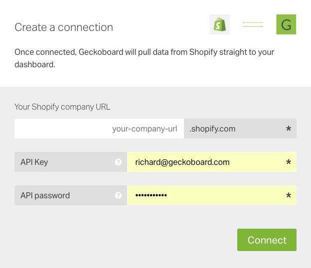 track shopify store sales and order metrics in geckoboard