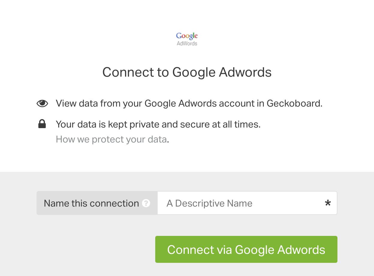Google Adwords authentication box