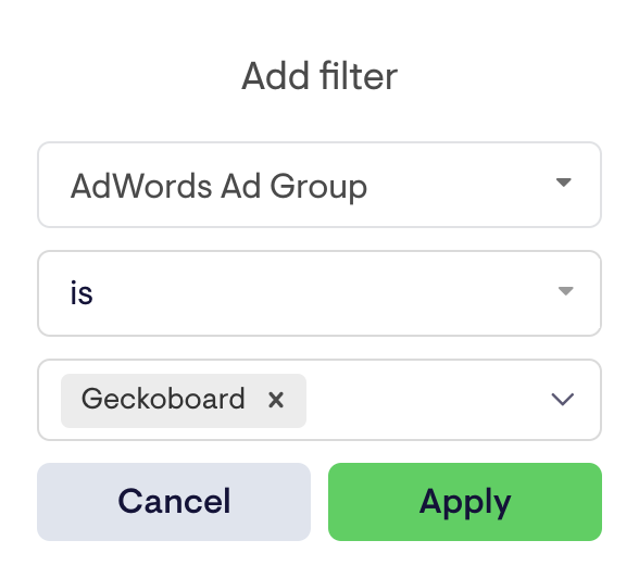Add a filter for your Google Ads metric