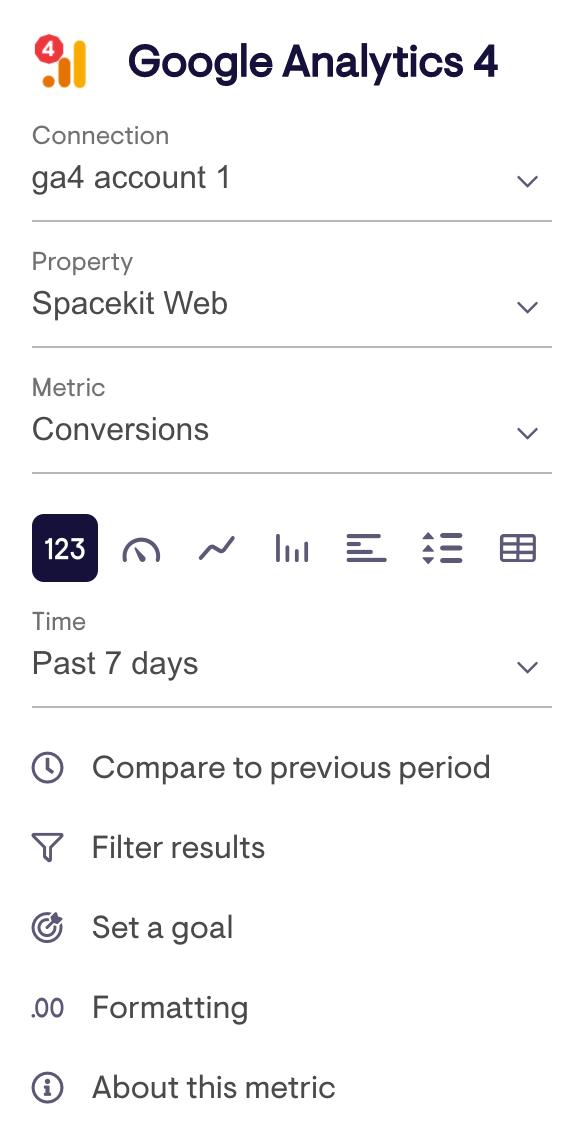 Widget config for Google Analytics 4