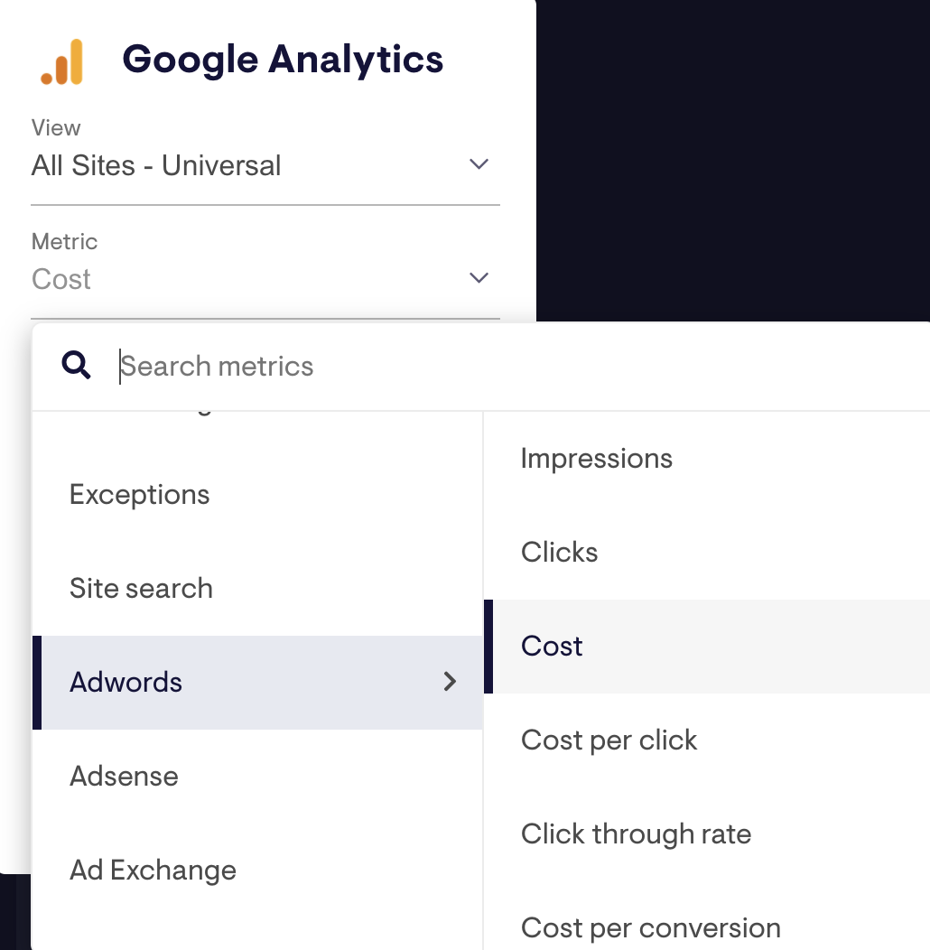 Use the tree select menu to find your Google Ads metric