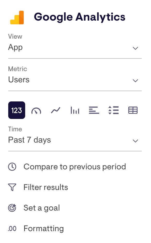 Widget config for Universal Google Analytics