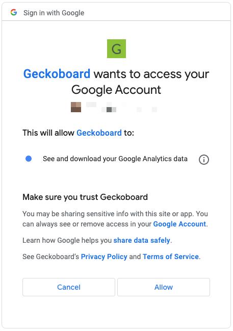 Google Analytics authentication panel