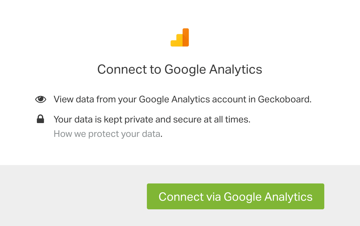 Google Analytics authentication box