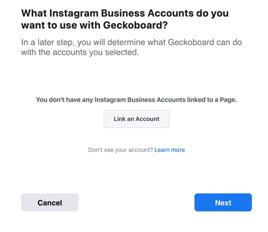 Unlinked Instagram business account connection box