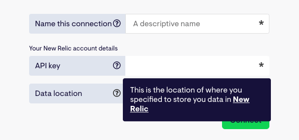 Enter your New Relic data region you're using