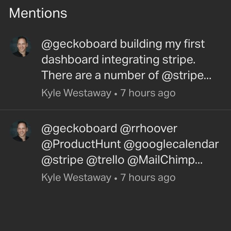 Twitter mentions widget