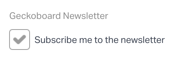 Subscribe to Geckoboard's newsletter