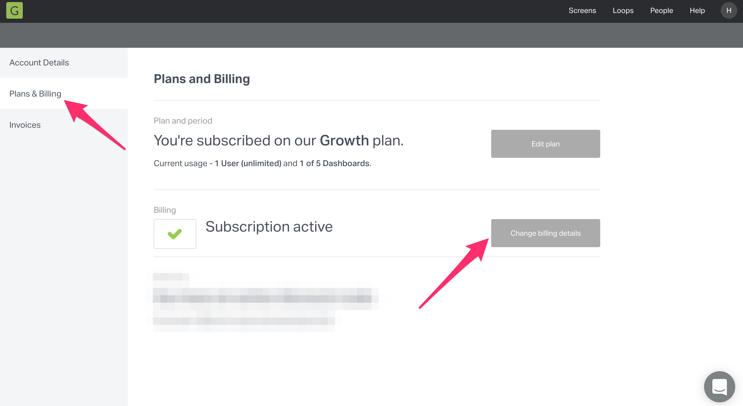 change your Geckoboard billing details