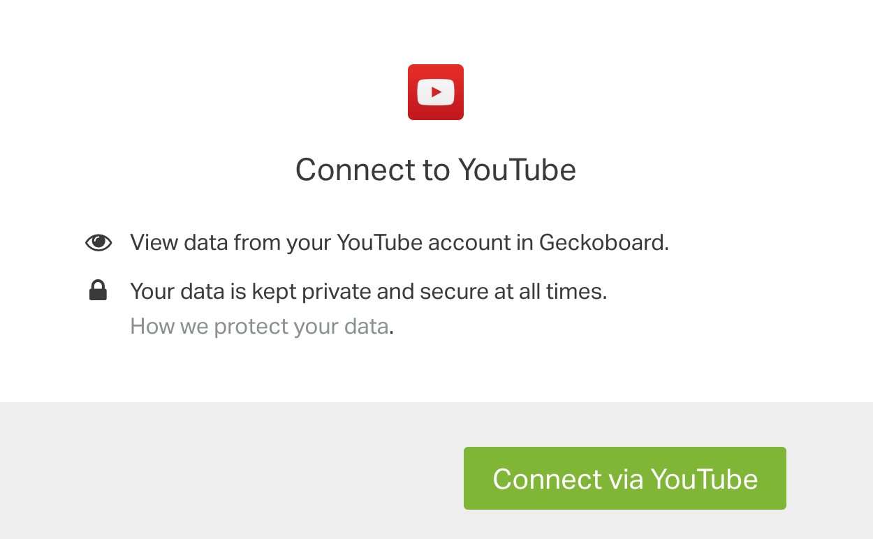 Connect Geckoboard with Youtube