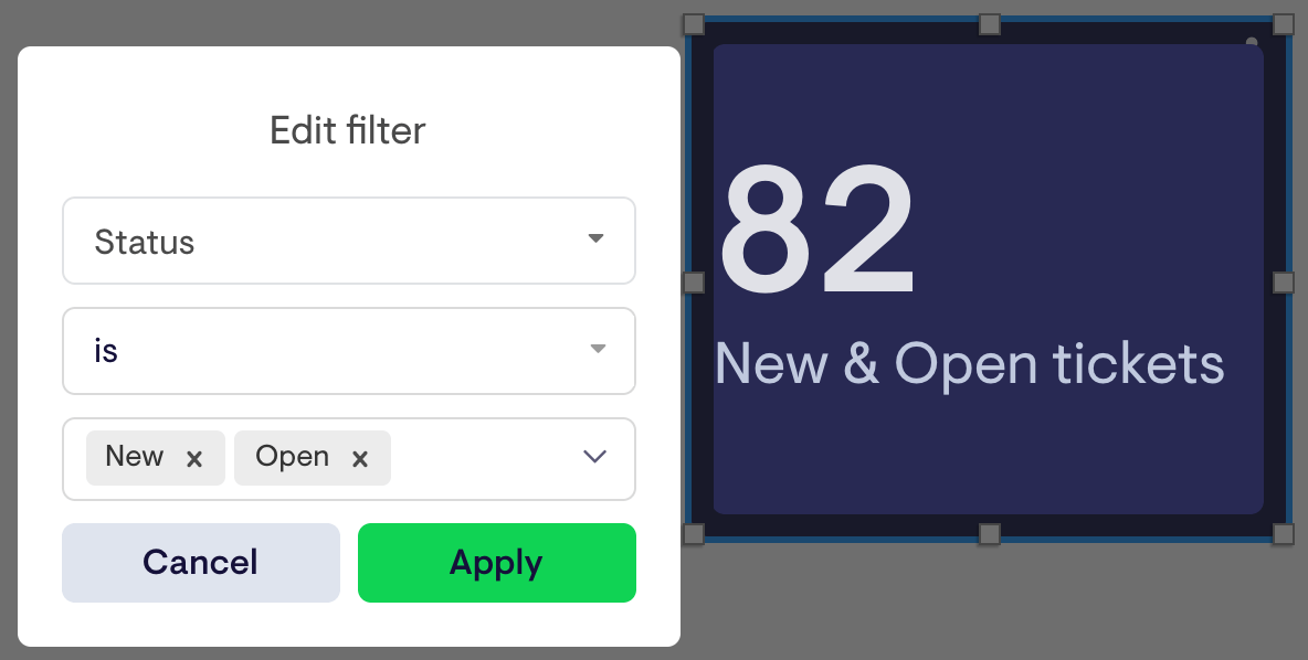 examples of using filters to refine your Zendesk ticket data in Geckoboard